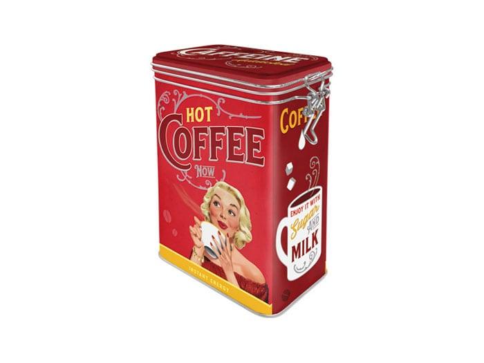 Plåtburk m. Spännlock Hot Coffee Now