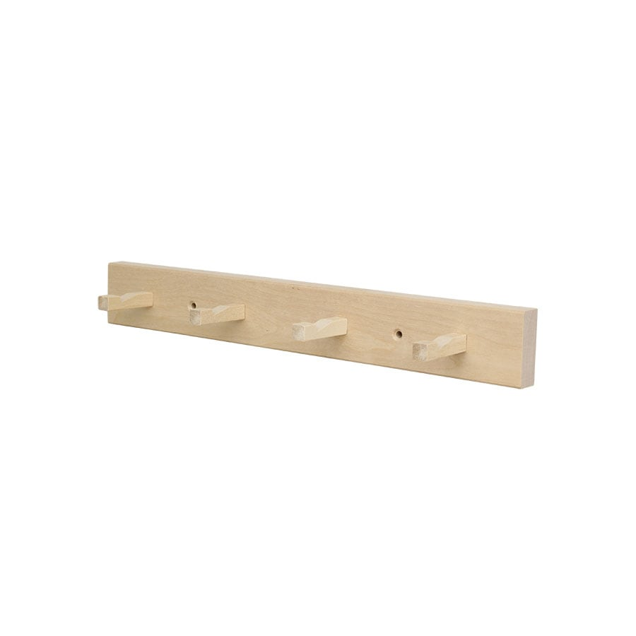 Hanger in Wood w. 4 Square Knobs