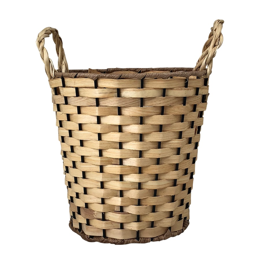 Wood Basket Coned w. Handle Natural Small