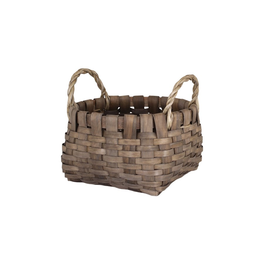 Wood Basket Kerstin Round Grey Small