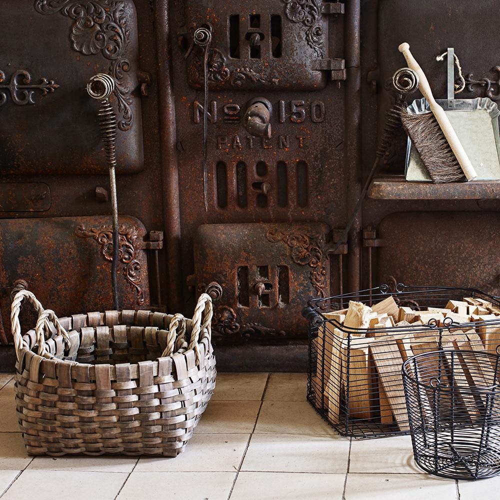 Wood Basket Kerstin Round Grey Small
