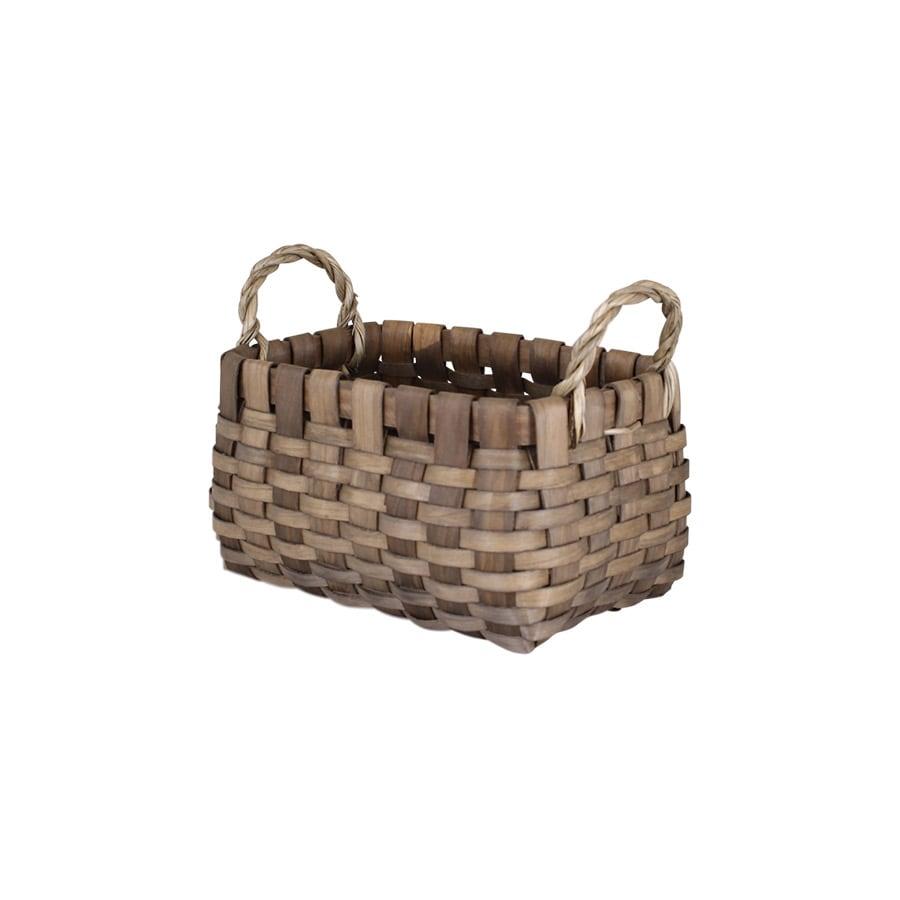 Wood Basket Kerstin Rectangular Grey Small