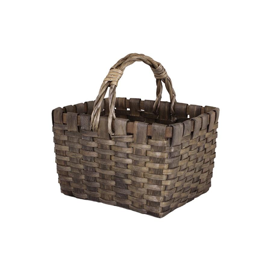 Wood Basket Kerstin w. Handle Grey Small