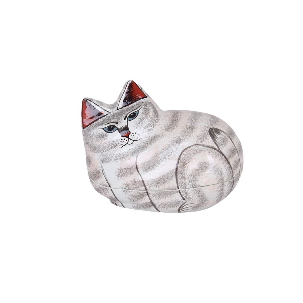 Lacquered Box Cat White/Grey