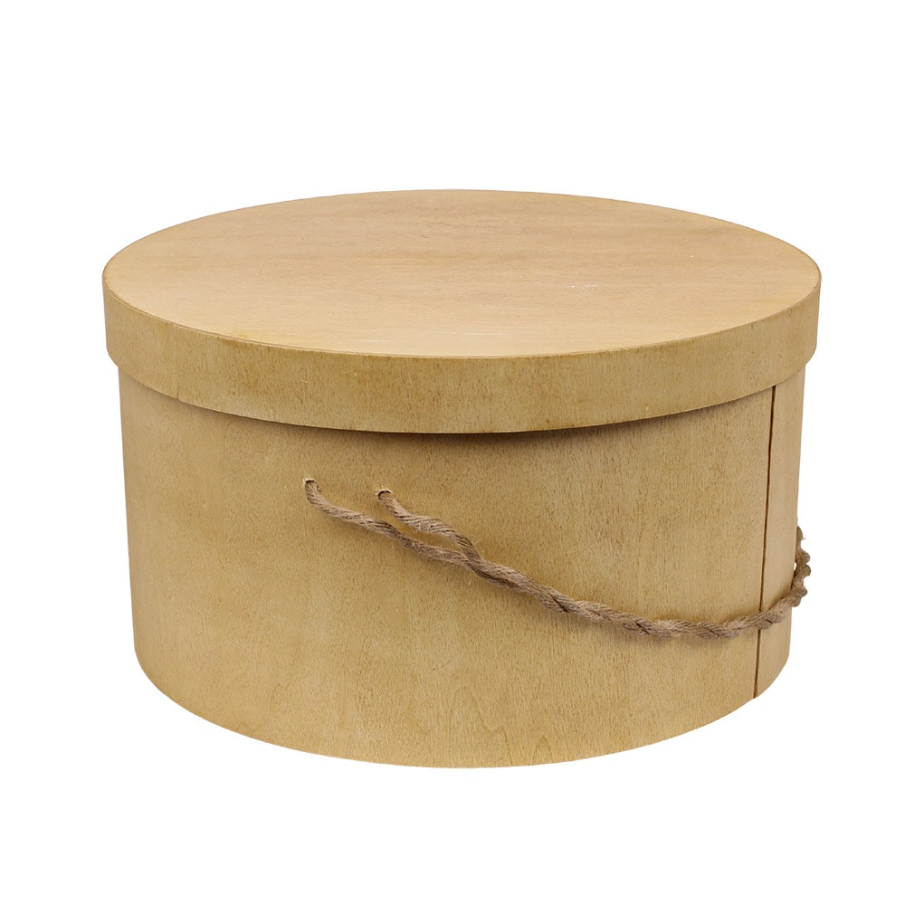 Wooden Box Bertil Round w. Cord Large