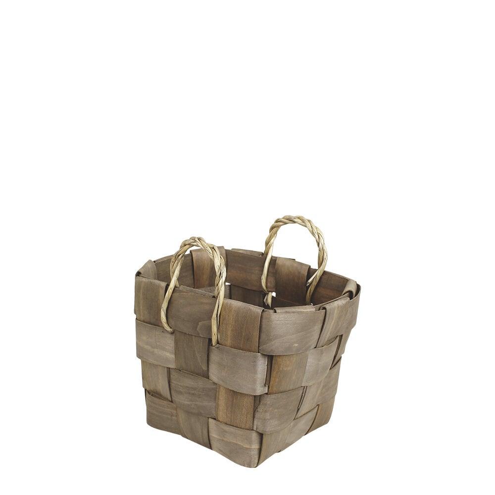 Wooden Basket Marita Grey Small