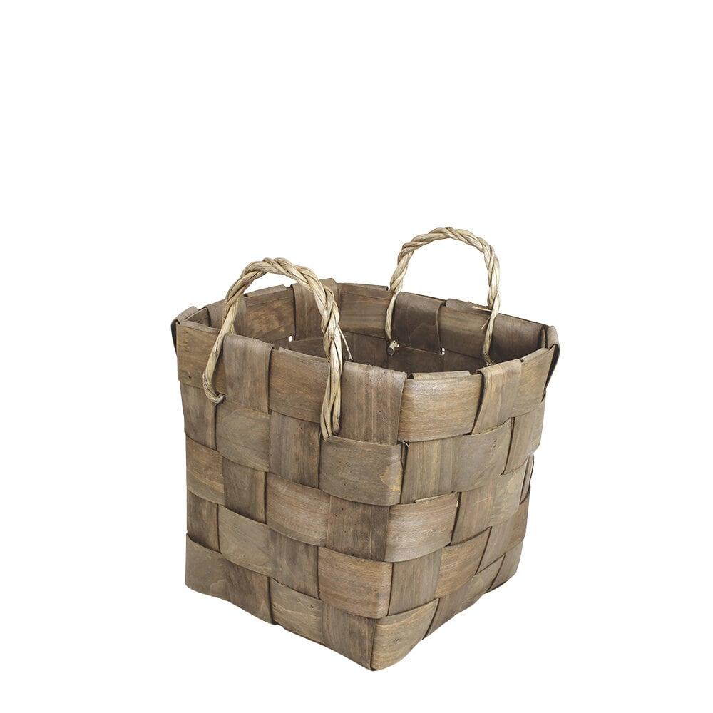 Wooden Basket Marita Grey Medium