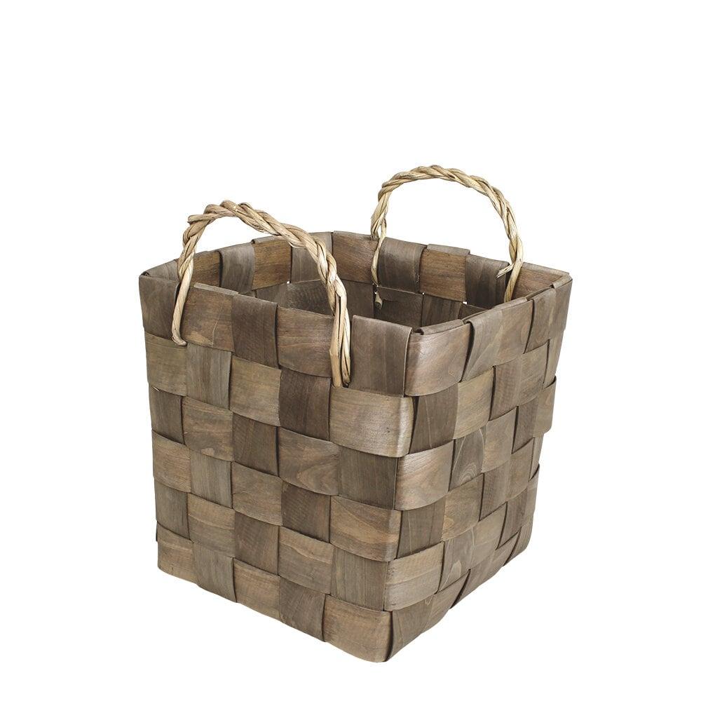Wooden Basket Marita Grey Large