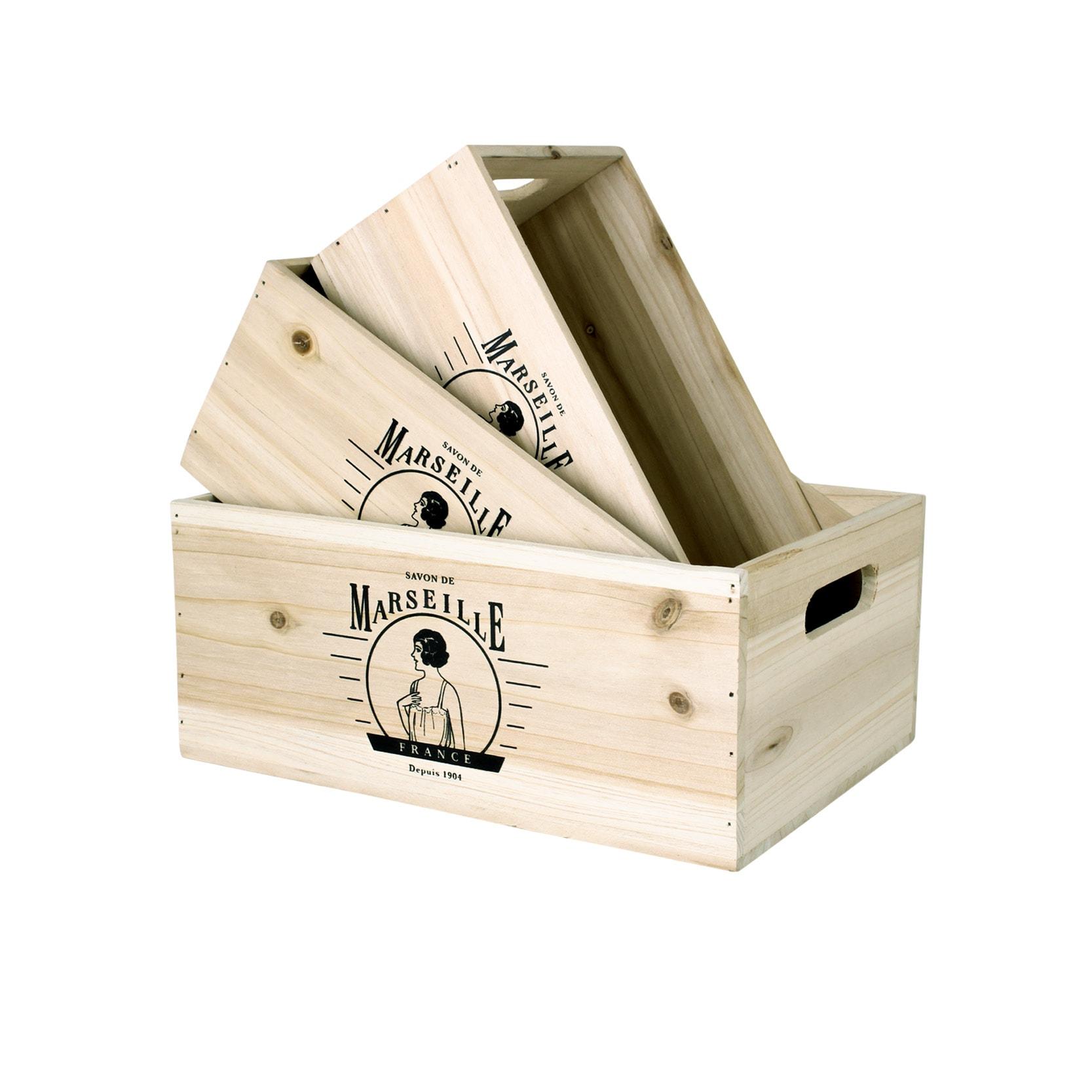 Wooden Box Rectangular Marseille S/3