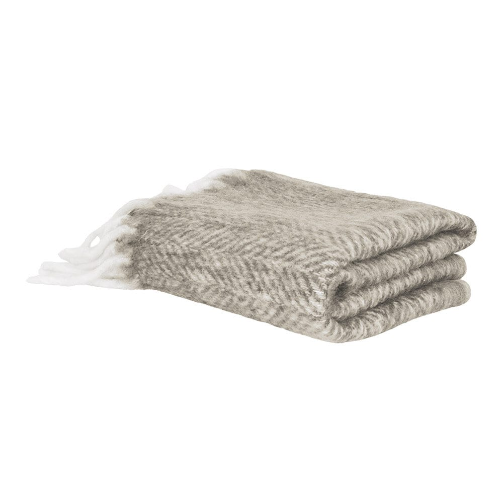 Wool Plaid Beige w. Light Fringes