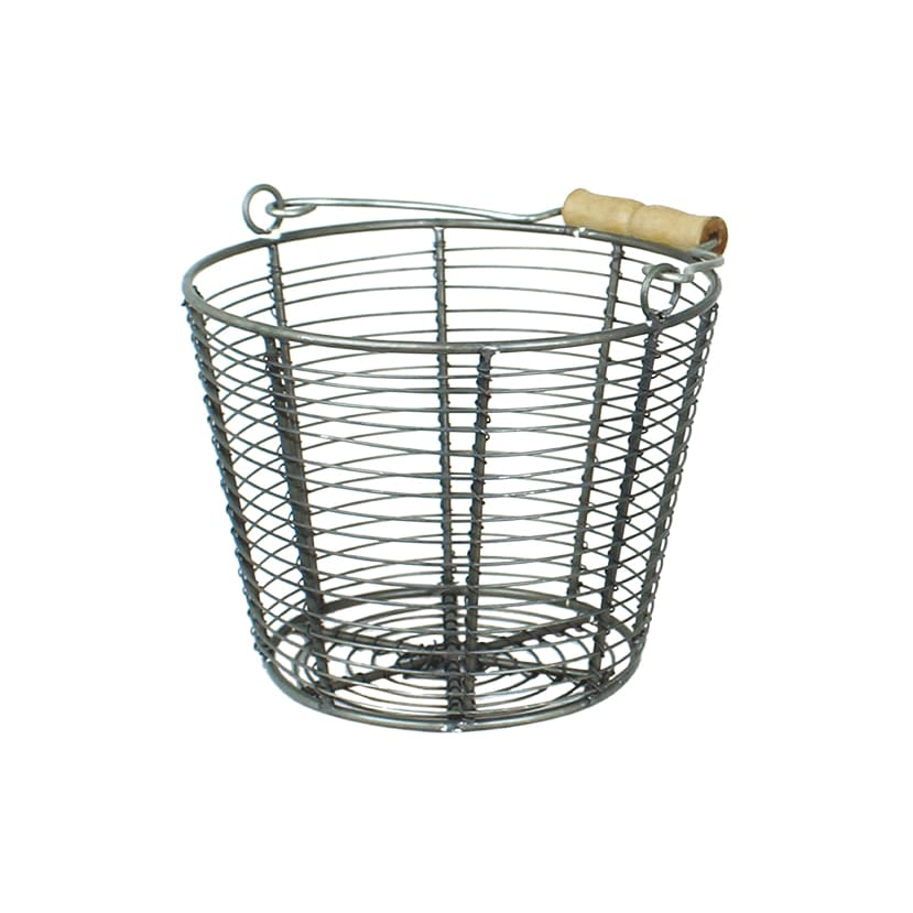 Wire Basket w. Handle Coned Zink Small