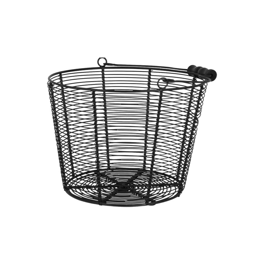 Wire Basket  w. Handle Coned Black Large