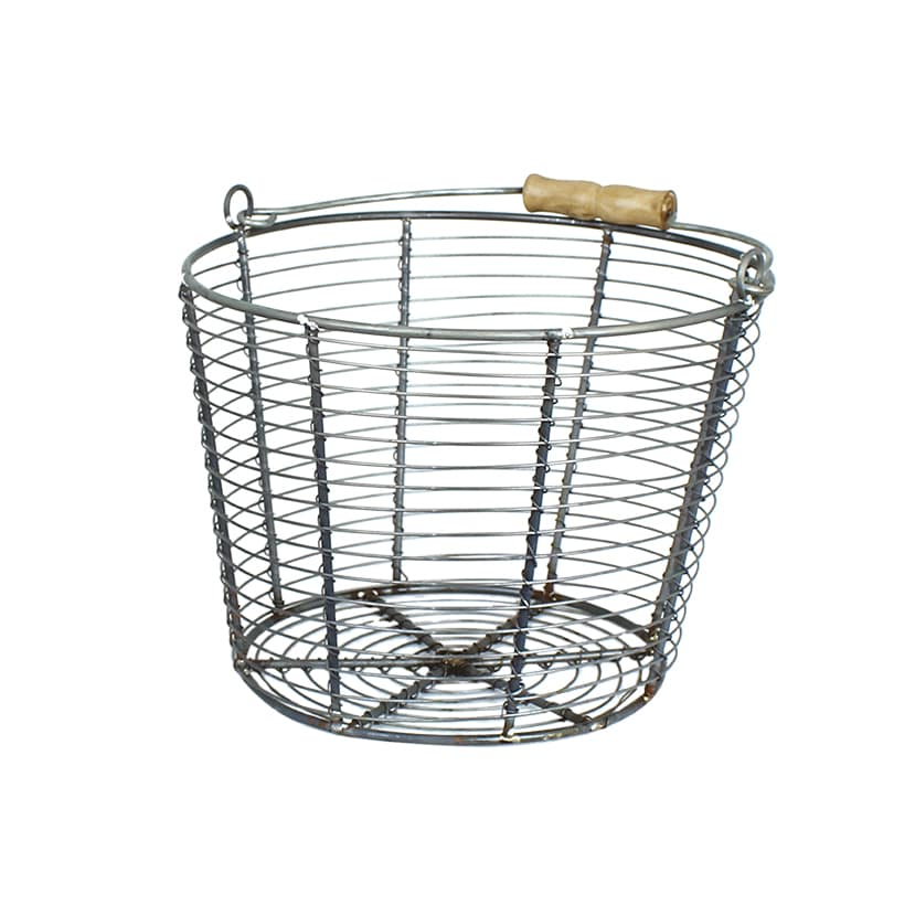 Wire Basket w. Handle Coned Zink Large