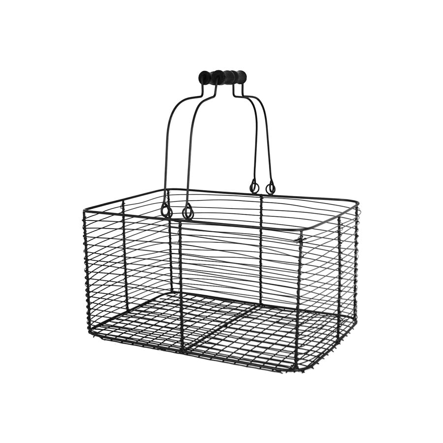 Wire Basket w. Handles Rectangular Black Small