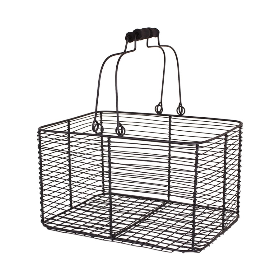 Wire Basket w. Handles Rectangular Black Large