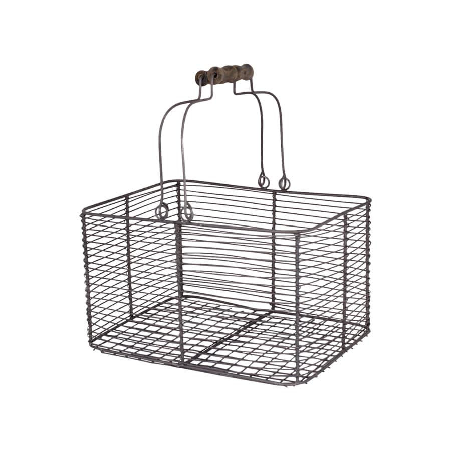 Wire Basket w. Handles Rectangular Zinc Small