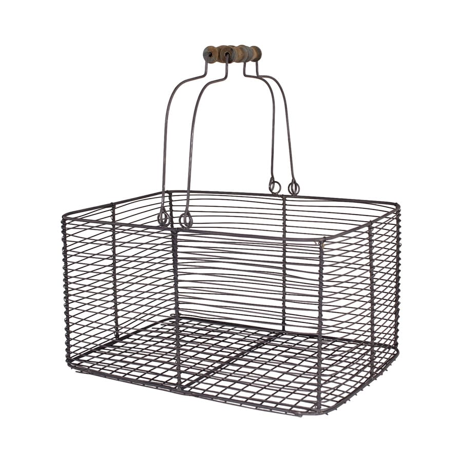 Wire Basket w. Handles Rectangular Zinc Large
