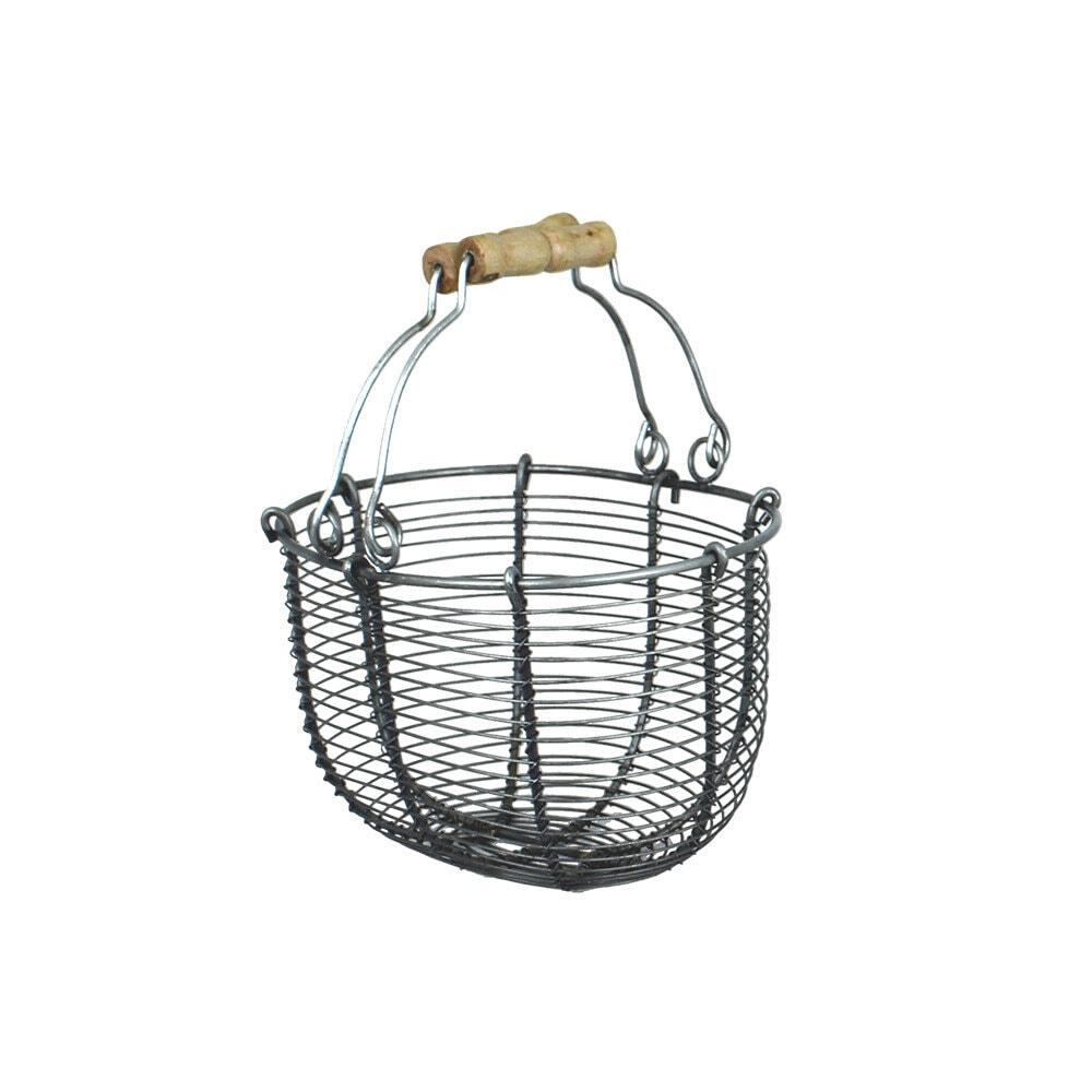Wire Basket Oval Zinc Small