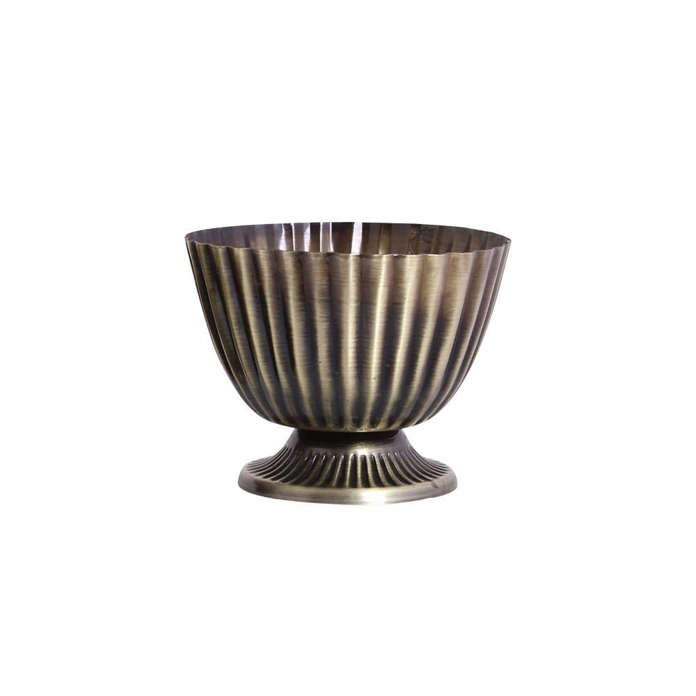 Vase/Pot on Foot Antique Brass Small