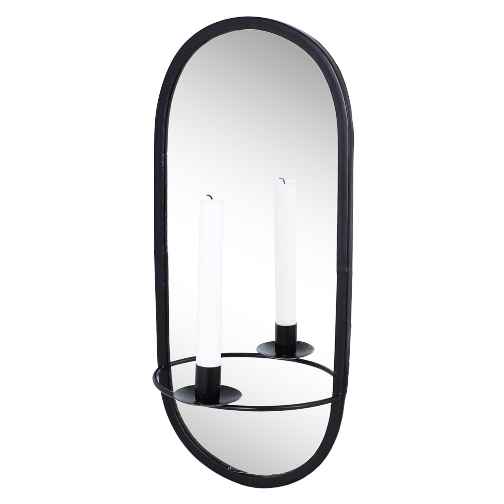 Mirror w. Candle Holder Black