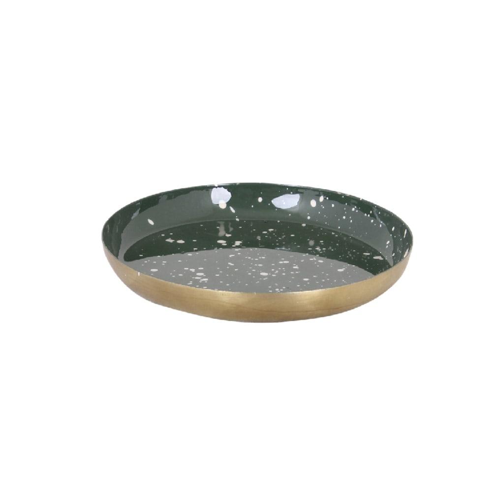 Small Tray Round Dark Green/Brass