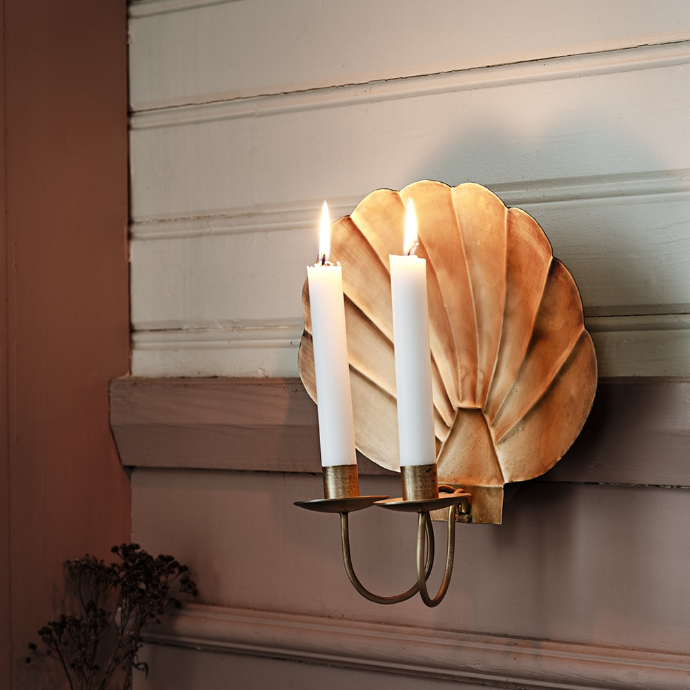 Sconce Shell Antique Brass