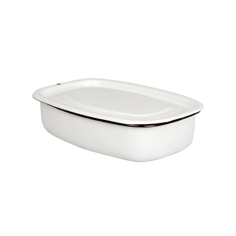 Oven Dish w. Lid Emil´s Enamel 1L Offwhite