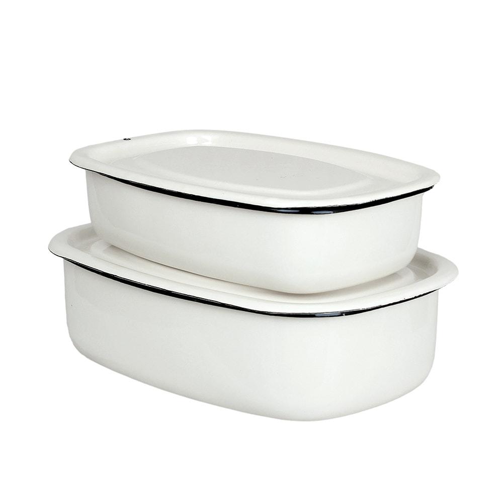 Oven Dish w. Lid Emil´s Enamel 1L Offwhite