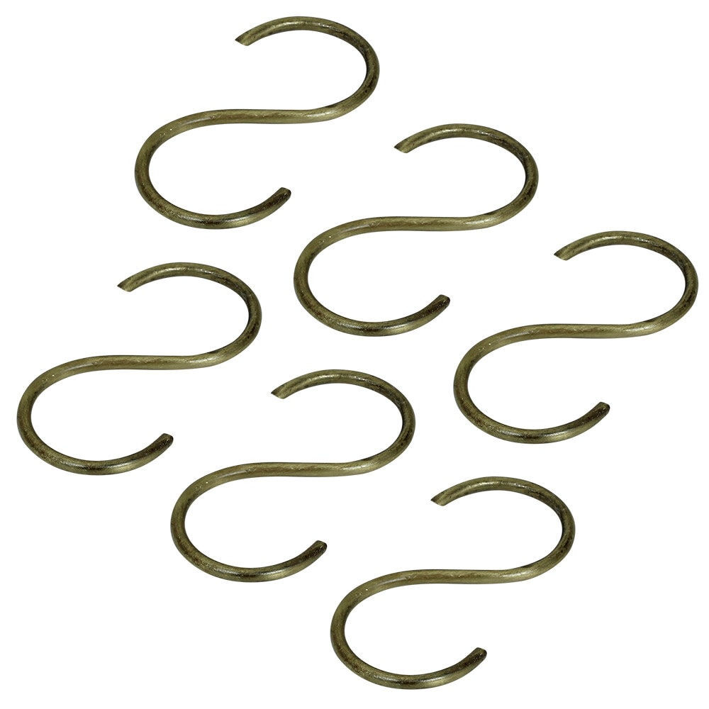 S-Hooks Antique Brass 6 pack Large