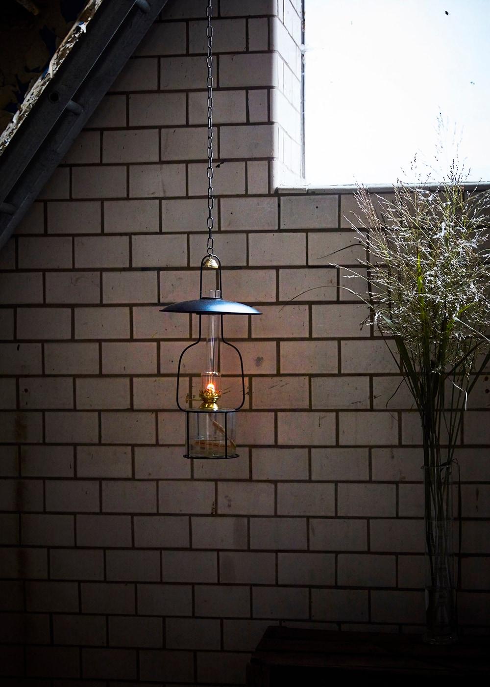 Hanging Kerosene Lamp Black/Brass