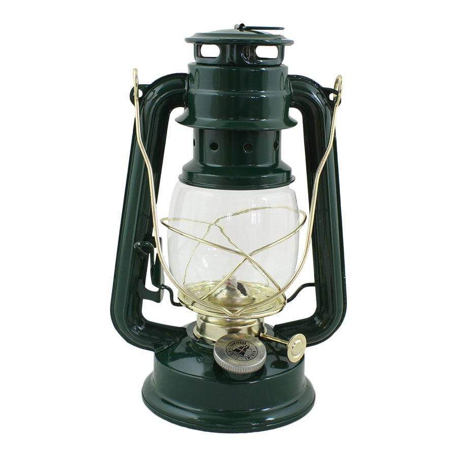 Hurricane Lantern Green/Brass Small
