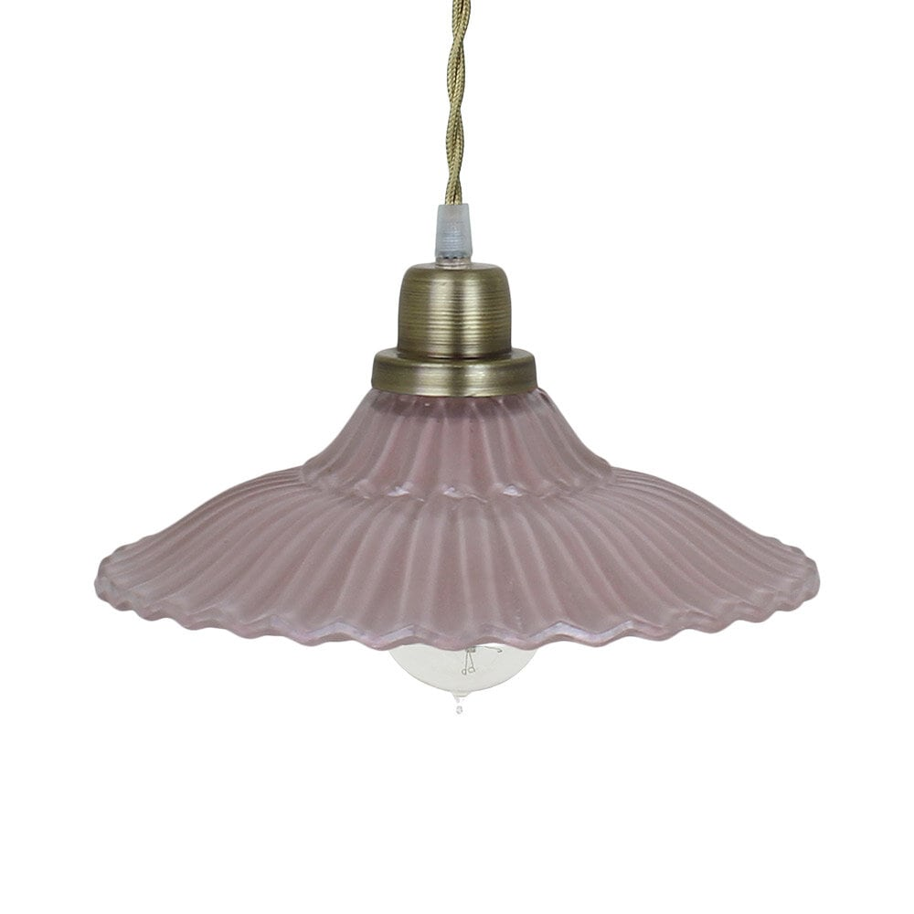 Pendant Lamp Gunilla Wide Pink/Antique Brass