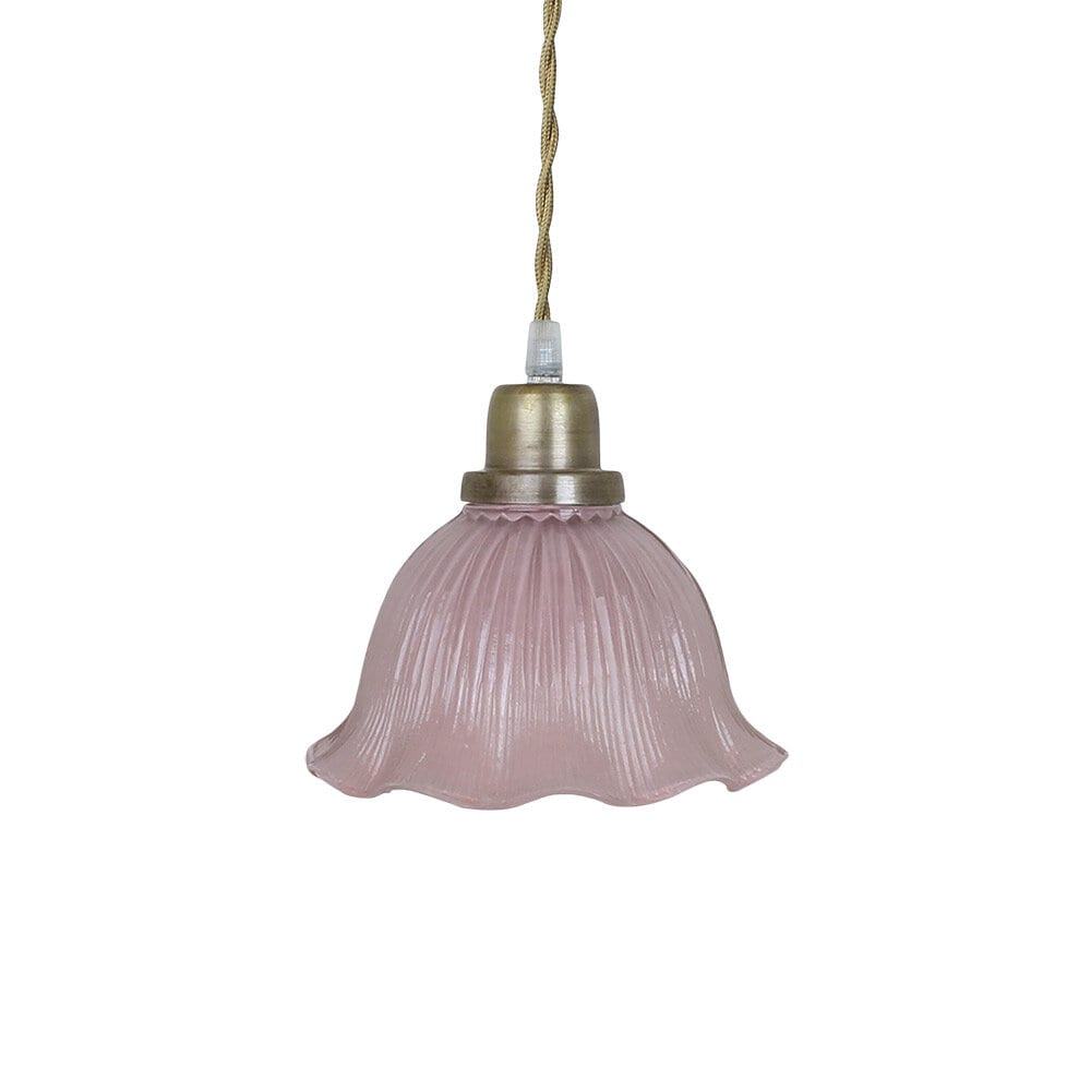Pendant Lamp Greta Wavy Pink/Antique Brass