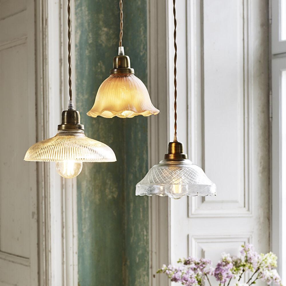 Pendant Lamp Greta Etch Clear/Antique Brass