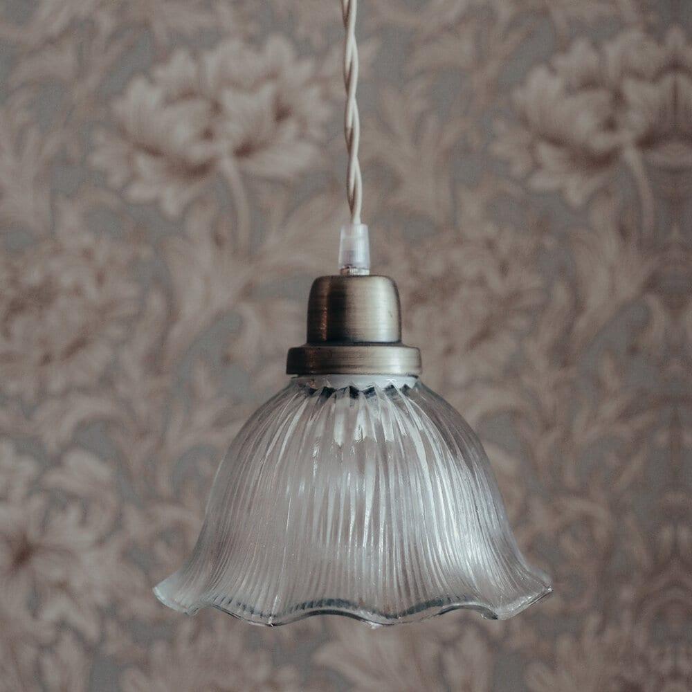 Pendant Lamp Greta Wavy Clear/Antique Brass