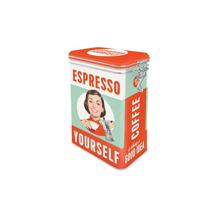 Plåtburk m. Spännlock Espresso Yourself