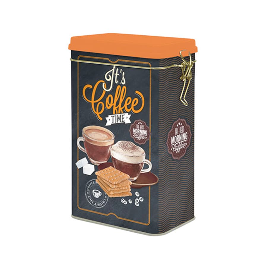 Plåtburk m. Spännlock It´s Coffee Time Svart