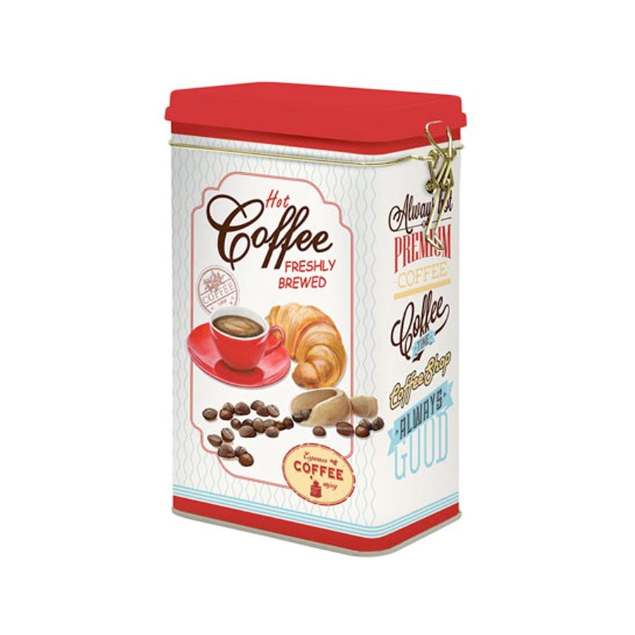 Plåtburk m. Spännlock Hot Coffee